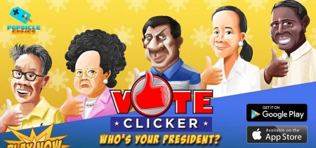 Vote Clicker has a pretty straightforward premise: it's Cookie Clicker with Filipino politics. You pick your favorite presidentiable (or more likely, the one you despise the least) and tap tap tap away at your chosen candidate's face to send campaign funds – and therefore votes – flooding in. It's ridiculously simple and features the standard array of clicker game shenanigans. In a cool little twist, the votes you get for your candidate are collected and tallied by the Vote Clicker site allowing everyone to see just who's winning the pretend race.