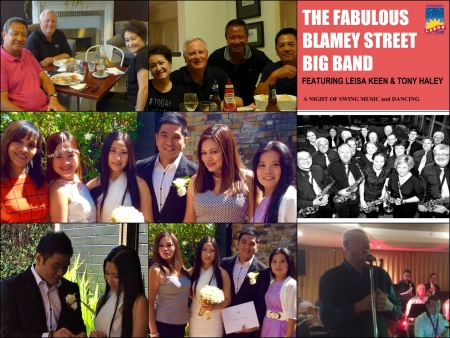 (clockwise) Bobby Alano  with his hosts Jo and Dennis @ Ivy and the Fox;Dinner for Bobby Alano in dunlop ACT; Blamey Street Big Band Flyer 2016; Blamey St Big Band during Seniors Week 2016; Mai Ann & Kenneth flanked by their witnesses; Mai ann and Kenneth make it official; The happy couple celebrating with Lyn Nadeska, Diana Thomson, Evy Cummins, Fe Buchman.