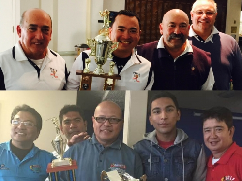 2015 Susan's Cup champion Carlos Gabila (2nd from left) after receiving his trophy from Mike Garcia (far left), and his cash prize from Edwa Garcia (2nd from right and DivoTees President), while Rick Power (far right Scorer & Handicapper) looks on.  Golf ParE Social Club 17th anniversary champion Ed Montero (holding trophies) after receiving his winning trophy from Nirvan Naidu (Donor & 2nd from right) and the perpetual trophy from Rey Garcia (President & extreme left). While Russell Gaerlan (Assistant captain & behind) and Alex Cruz (Vice President & extreme right) look on. Photo courtesy of Golf ParE Social Club FB.