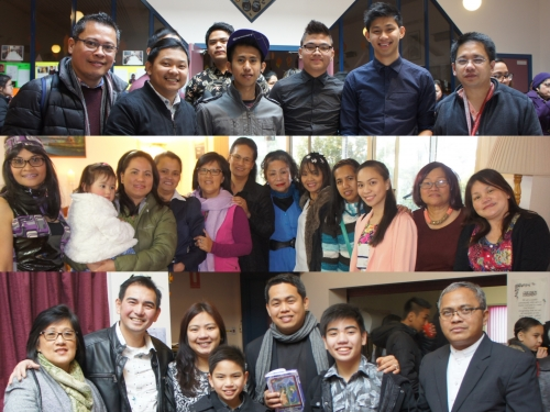 1) The youth of Hobart  2) Jezen, 2nd from left with friends on her birthday  3) The Gonzales Family with Fr Leo