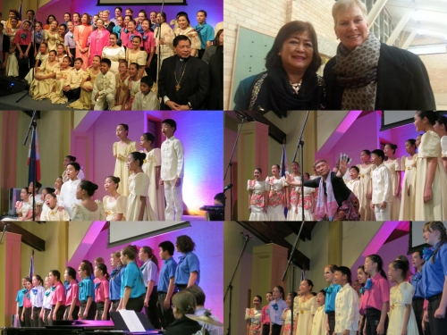(clockwise) Ambassador Belen Amota surrounded by fundraising committee and choirs;   Rosita Marquez-Wood with good friend Alpha Gregory, Director, Woden Valley Youth Choir; Joint performances by Loboc Children's Choir and Woden Valley Choirs