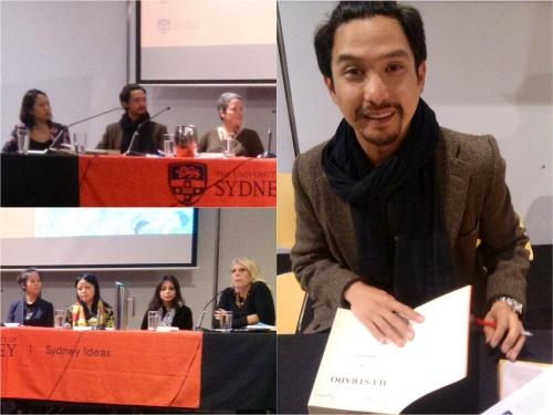 1) The panel at the Griffith Review talk. 2) Filipino writer, Miguel Syjuco signing his book, Ilustrado, which won the 2008 Man Asia Literary Prize and the Palanca Award in 2008. He was one of the writer's in the Griffith  Review writers' talk.