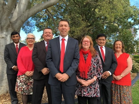 The 7 Labor Councillors elected in City of Campbelltown Council Election. Left to right we are: Masood Chowdhury  Margaret Chivers Darcy Lound George Brticevic  Meg Oates Rey Manoto Karen Hunt
