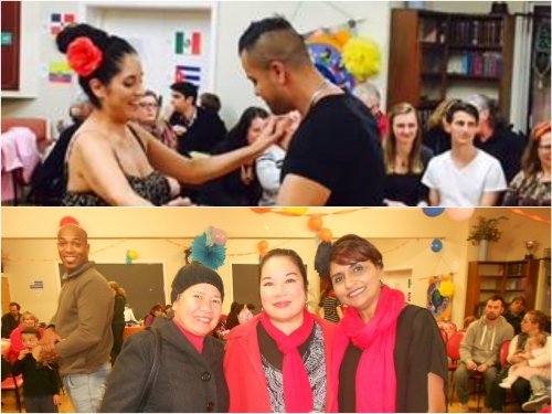 1) Nelson and Pamela dancing salsa during Latin night.  2) L to R: Ate Fely Calis, Espie Johnston and culture Hub president Ms. Grace Pereira.