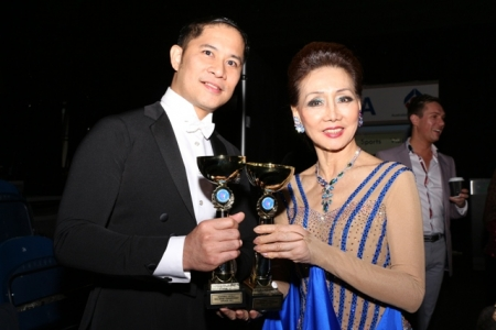 Gener Galang and Elena Lee, from the Philippines, won first place in the Masters 1 Level 3 Standard Ballroom Competition
