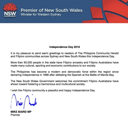 INDEPENDENCE DAY 2016 GREETINGS FROM NSW PREMIER