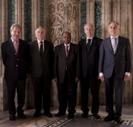 Permanent court of Arbitration website: the Arbitral Tribunal in Philippines v China, (l-r)  Judge Jean Pierre-Cot, Judge Stanislaw Pavlak, Judge Thomas A. Mensah (President), Judge Rudger Wolfrum, Professor Alfred H. A. Soons