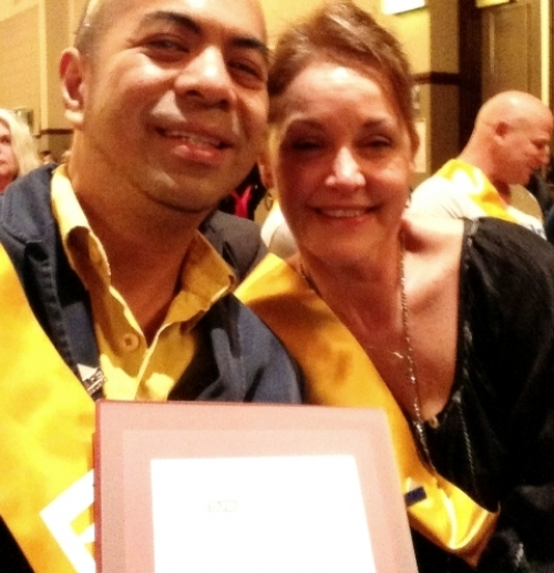 Eric with classmate June Robinson in a TAFE Ultimo Graduation for Community Services Work.